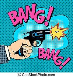 The gunshots gangster murder pop art retro style. Detective...