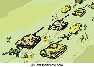 Military Convoy - Military convoy of tanks, infantry and...