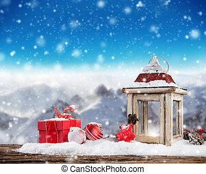 生活, まだ, クリスマス, 背景