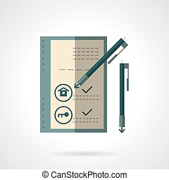 Sale house document flat vector icon