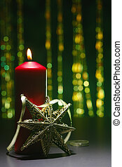 cristmas - star and the red candle
