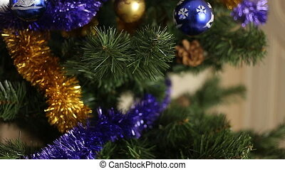 Christmas-tree decorations Close up Selective focus