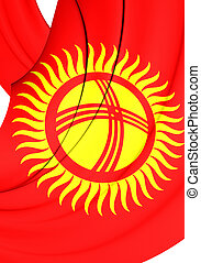 Flag of Kyrgyzstan - 3D Flag of the Kyrgyzstan. Close Up.