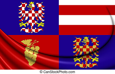 Flag of South Moravian Region, Czech Republic - 3D Flag of...