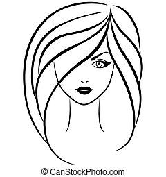 Abstract outline portrait of young girl - Abstract vector...