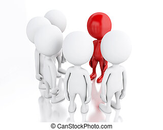 3d Group of people and red leader. - 3d renderer image....