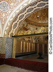 Beautiful colorful tiles and gilded decoration inside...
