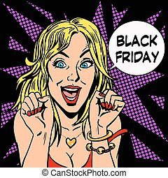 Black Friday shopper pleasure women pop art retro style