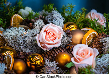 Christmas decoration with bubbles  and pink roses