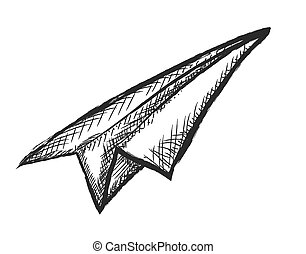 paper airplane doodle,  vector