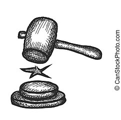 doodle judges gavel, vector illustration