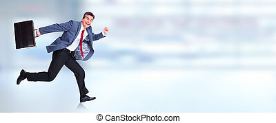 Happy running businessman - Happy running businessman over...