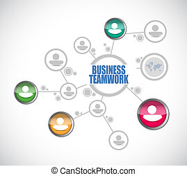 business teamwork people diagram sign concept illustration...