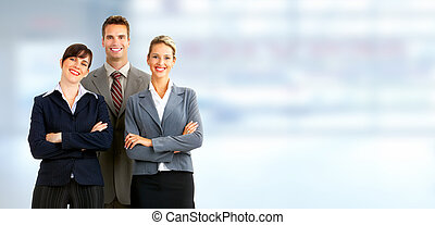Group of business people Businessman over blue office...