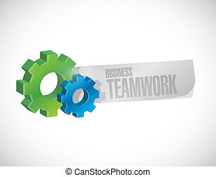 business teamwork gear sign concept icon - business teamwork...