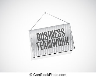 business teamwork banner sign concept illustration design...
