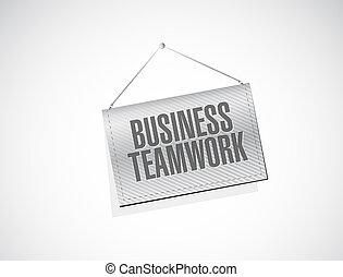 business teamwork banner sign concept illustration design...
