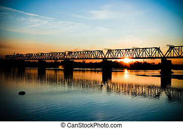 Bridge across the river at sunset in Novosibirsk