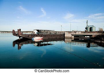 Big black cargo barge