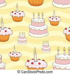 Seamless cakes vector background