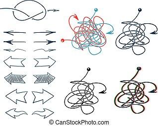 Doodle vector arrows - Doodle hand drawn abstract arrows...