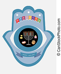 hanukkah hamsa,abstract hand with abstract eye and symbols...