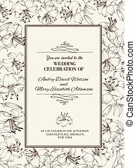 Wedding card with lily flowers. Invitation card template...