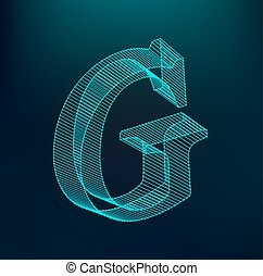 The letter G. Polygonal letter. Low poly model. The three-dimensional mesh. Volume mesh character.