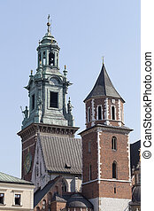 clock tower of Wawel Royal Castle in Cracow, Poland - view...