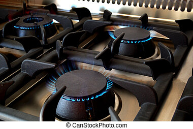 Restaurant, professional kitchen detail - Open burner in a...