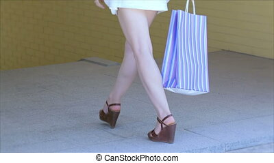 Young cheerful girl shopaholic - Girls holding shopping bags...