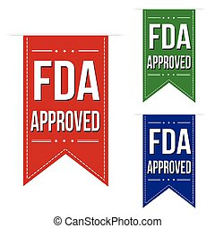 FDA approved banner design set over a white background,...