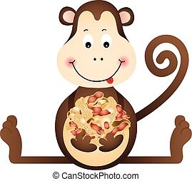 Monkey Eating Peanuts - Scalable vectorial image...