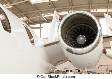 Close up of the engine on a corporate jet - Close up of the...