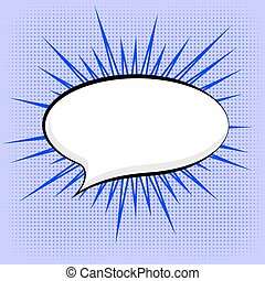 Speech Bubble on Blue Dotted Background Retro Comic Speech...