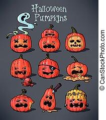Halloween pumpkins - Vector set of halloween pumpkins with...