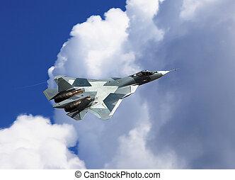 Fighter in flight