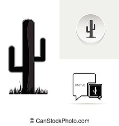 cactus speech bubble vector silhouette