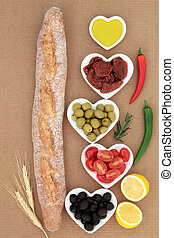 French Baguette with Antipasti - French baguette bread loaf...