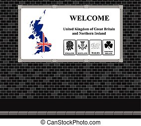 Welcome UK advertising board - Advertising board on brick...