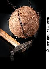Coconut broken in half with hammer