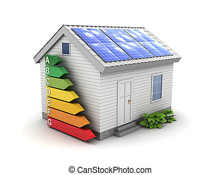 green energy house - 3d illustration of energy efficient...
