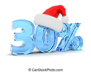 Christmas sale - 3d illustration of 30 percent discount and...