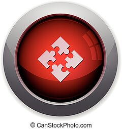 Red modules button - Red glossy modules web button Arranged...