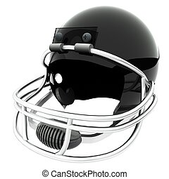Football helmet - Black football helmet isolated over white,...