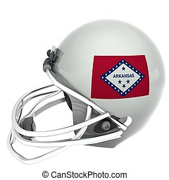 Arkansas Football - Arkansas flag over football helmet, 3d...