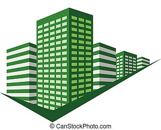 Green sign with skyscrapers block. Vector illustration