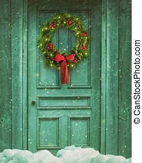 鄉村, 花冠, 門, 聖誕節, 穀倉
