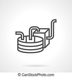 Wine production equipment black line vector icon - Part of...