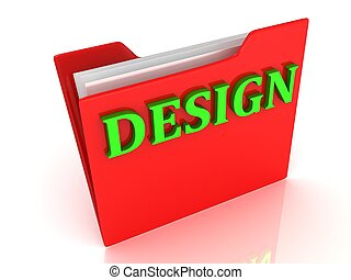 DESIGN bright green letters on a red folder on a white...